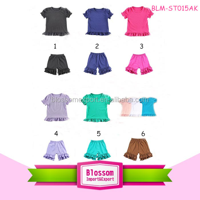 Wholesale Baby Children Girls Stripe Ruffled Bali Shorts Kid's Knit Cotton Bottoms Toddler Ruffle Icing Shorties
