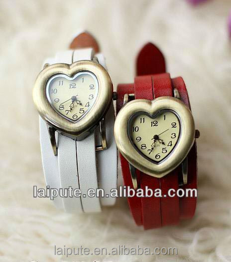 hot gift heart shaped lady wrist watches with wide calf leather band