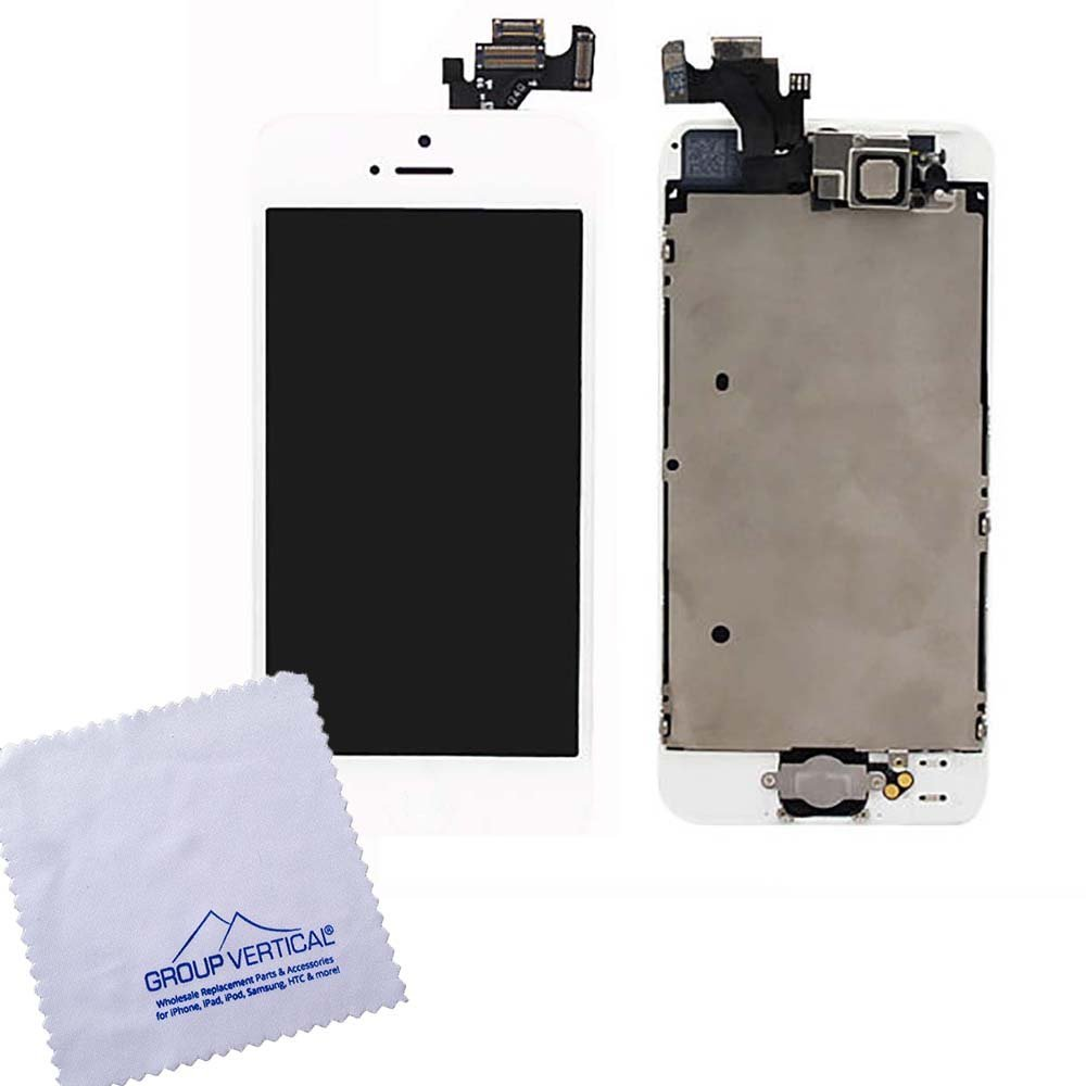 Premium Touch Screen Digitizer and LCD for Apple iPhone 5 White - Includes Small Parts (A1428, A1429)