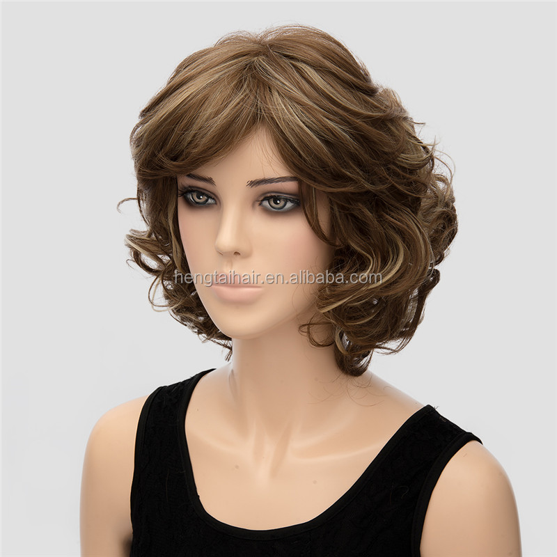 New Arrival Dark Brown Short Synthetic Wigs Curly European American Style Heat Resistance Short Wig Cosplay 12inch Pelucas