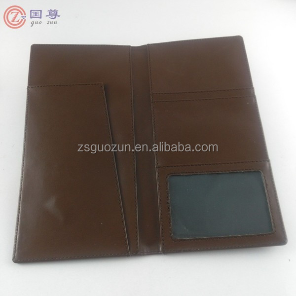 PU Leather Manufacturer Customized Passport Multi-function Card Holder Travel Long Ticket Clip