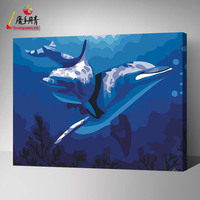 Love Queen dolphin picture abstract painting diy painting by number for home decoration