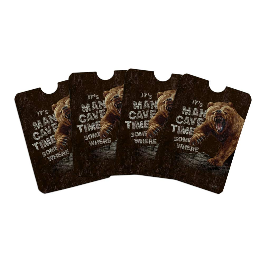 It's Man Cave Time Somewhere Bear Credit Card RFID Blocker Holder Protector Wallet Purse Sleeves Set of 4