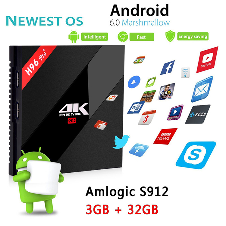 H96 Pro+ S912 3G 32G amlogic box wholesale android smart tv set top box Dual WIFI KD player 17.0 smart tv 32
