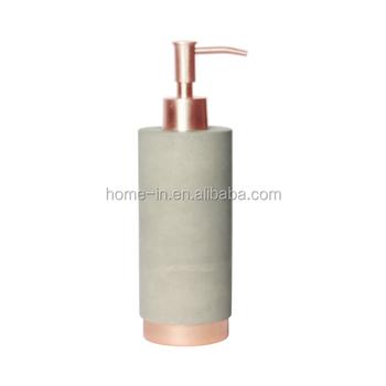 Rose Golden Metal Base Concrete Bathroom Accessories Sets Lotion