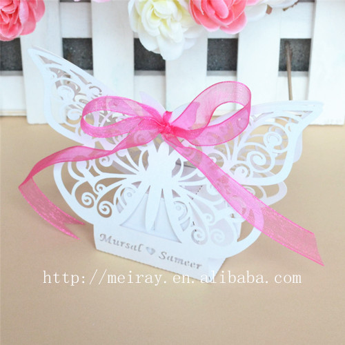 50 Pack Laser Cut Butterfly Wedding Favor Box Birthday Shower Party Candy Boxes Lolly Bag