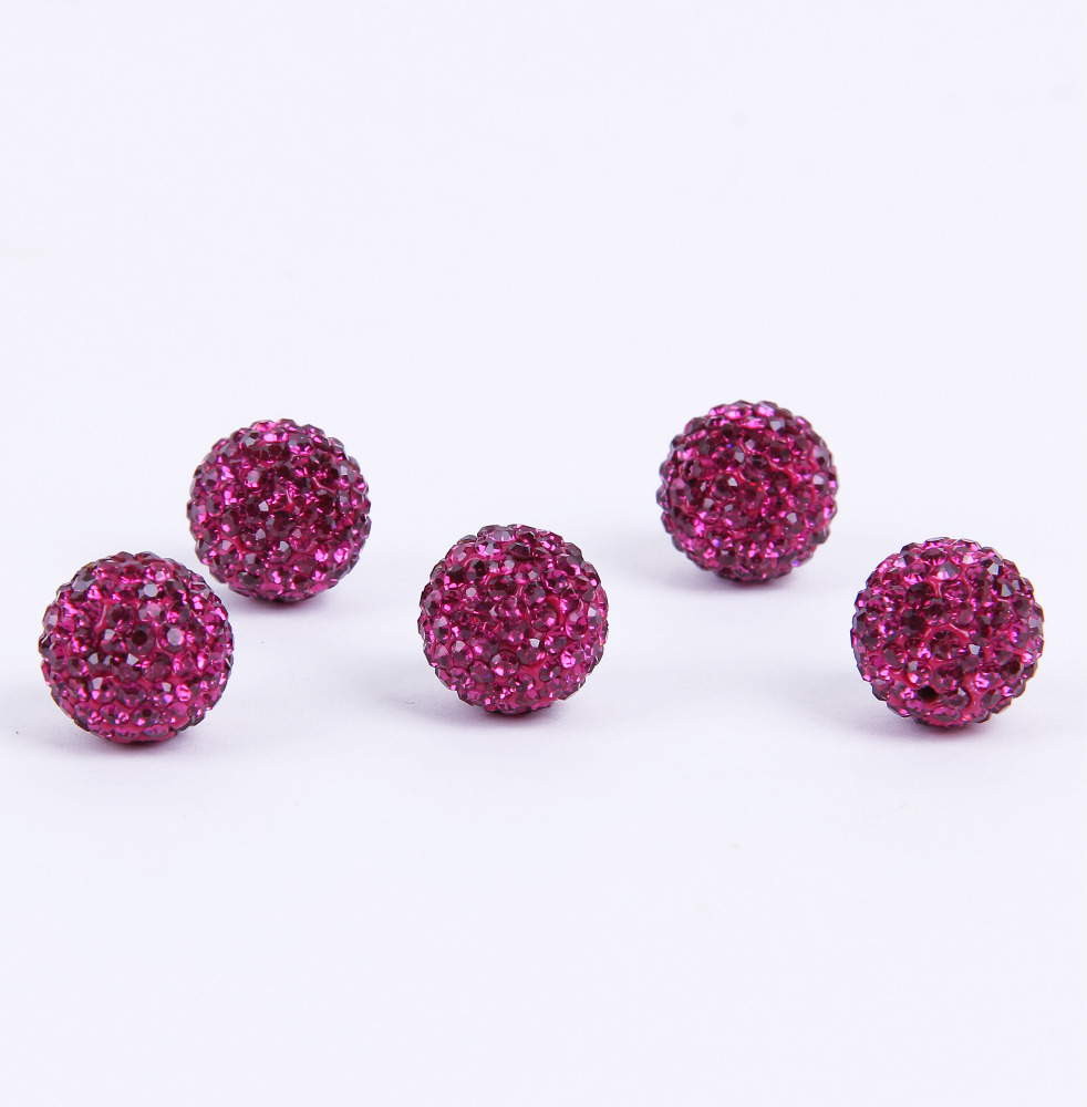 Clear 12mm Shamballa resin jewelry charm crystal bead Czech Rhinestones Pave Clay Round Disco Ball Beads