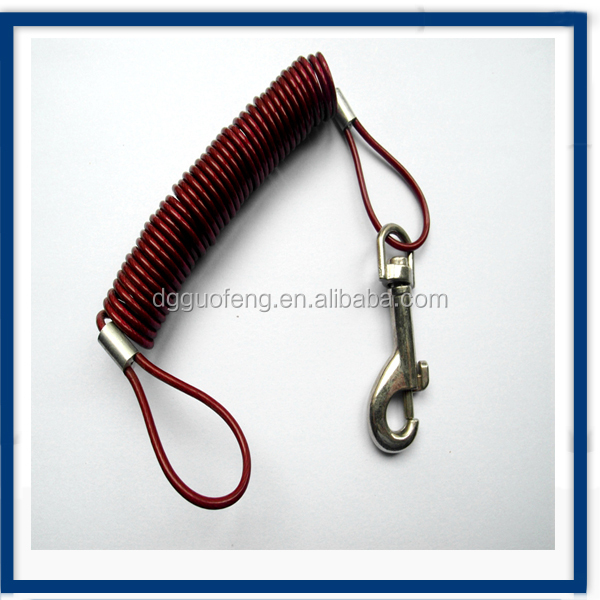Spring wire rope with snap hook and loop