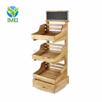 Ym0j25 3 Tier Wooden Display Stand With 4 Shelves