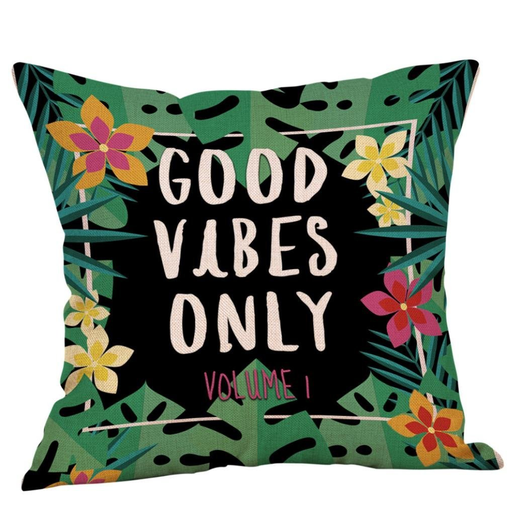 "Throw Pillow Case, Lotus.flower ""GOOD VIBES ONLY"" Printing Cushion Cover Linen Blend Home Sofa National style Decoration (C, 18""x18""/45x45cm)"