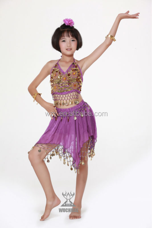 5778dd779b1e hot sale golden coins blue sexy practice girls christmas dance costumes