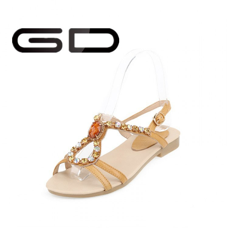 2015 Fashion bling rhinestone lady casual shoe flat <strong>sandals</strong> for ladies pictures
