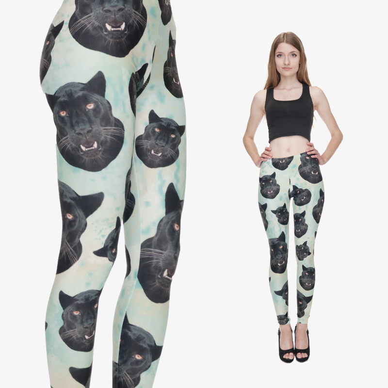 2015 New Arrival Fashion 3D Lght Green with Black Panther Heads Women Funny Animal Dog Leggings Pants Plus Size Leggings