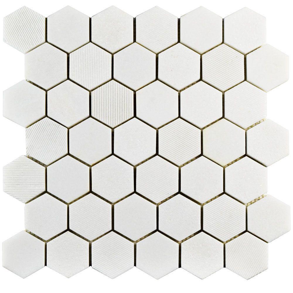 2 Inch Thos White Marble Hexagon