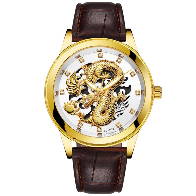 Bosck Dragon Series Mens Casual Fashion Gold Dragon Surface Diamond Decoration Leather Band Japan Movement Wrist Watch