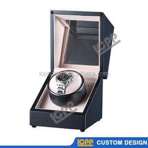 Professional factory made high end piano lacquer automatic custom wooden watch winder with carbon fiber