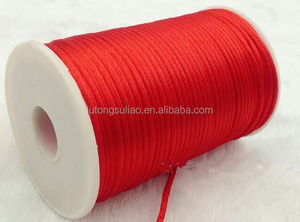 Red color Rat tail Cord Chinese/China Knot Rat-Tail Chinese Knot Satin Macrame Beading Jewelry stain silk cord