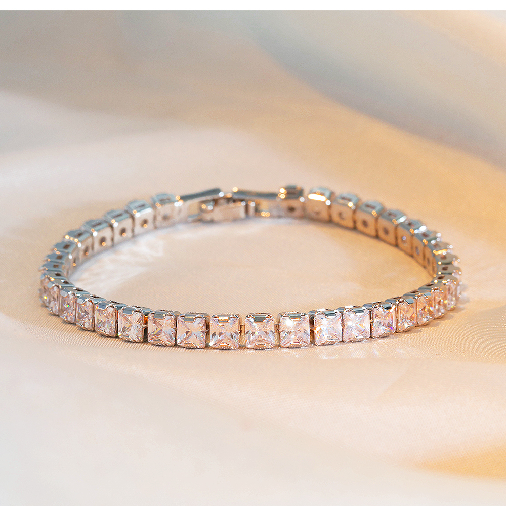 Wholesale Usa Women Copper Jewelry Zircon Platinum Silver Plated Bracelet