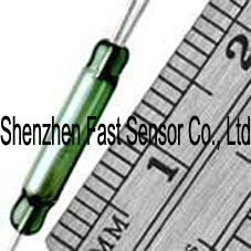 2.54x14.3mm Brand normally open and closed changeover N/C SPDT 3 leads magnetic actuated Gold Contact Green Glass Reed Switch