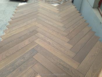 Economische gerookte glad eiken chevron parket houten vloeren