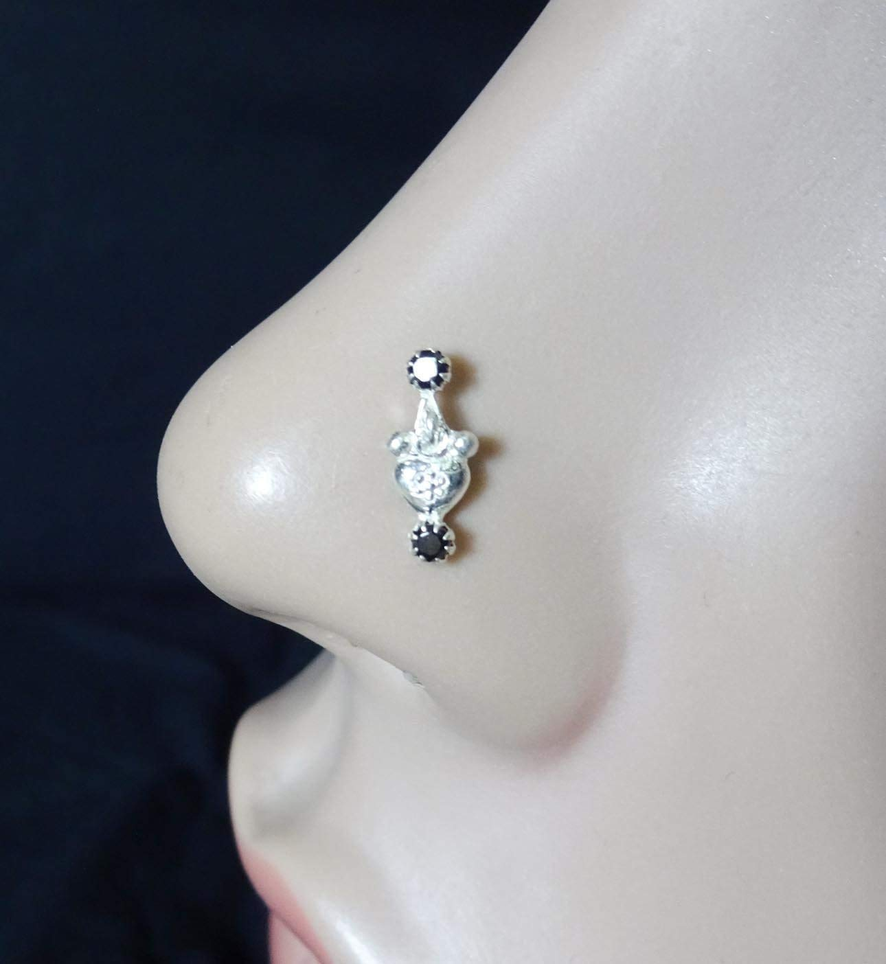 Black Stone Nose Stud,Silver Nose Cuff,Wedding Nose Screw,CZ Clear Nose Stud,Crock Screw Nose Stud,Silver Diamond Piercing,Indian Nose Stud,Monroe Nose Ring,Tiny Gold Piercing(TEJ724)