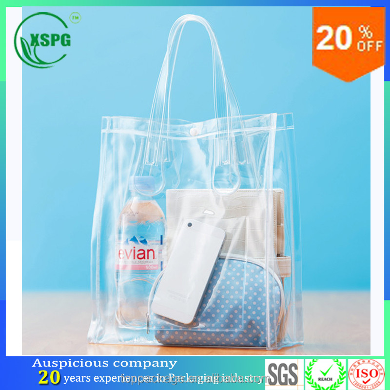 best selling personalized pvc clear plastic handle tote bags
