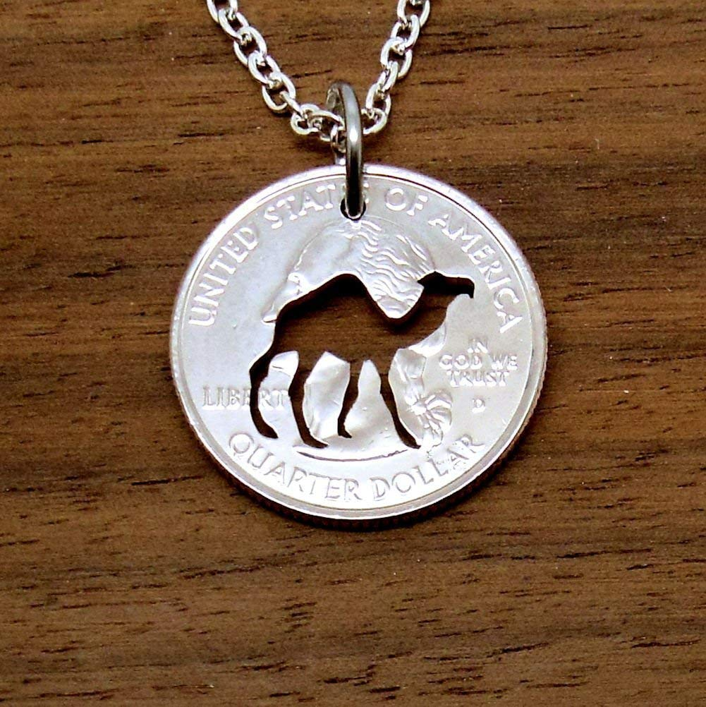 c24c66533b76 Get Quotations · Camel Pendant Necklace Jewelry Cut in a US Quarter Choose  Chain or Key Ring