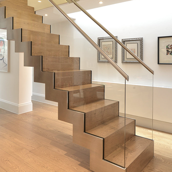 Home Prefab Wood Steel Stairs Closed Riser Staircase