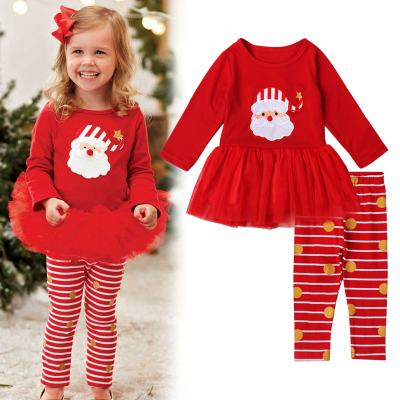 Newborn Baby Girl Long Sleeve Dress+ Pants Clothing Red Infant Princess Girls Party Christmas Outfit Sets