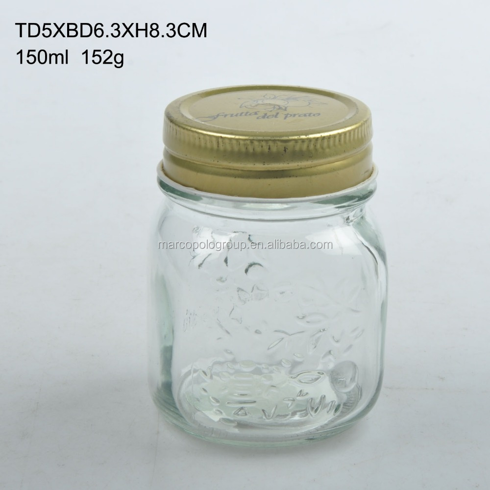 150ml glass jam jar with printing lid food safe
