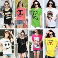 1.1 USD Big Size Stock Ladies Garment 8 Colors Of Cotton M-2XL Round Neck Girls T Shirt /t-Shirt/Clothes (gdzw126)