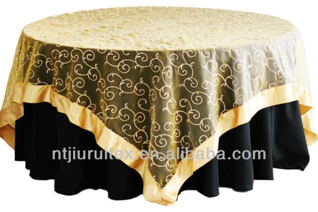 Golden Organza Embroidered Table Cloth Overlay With Satin Band Product On