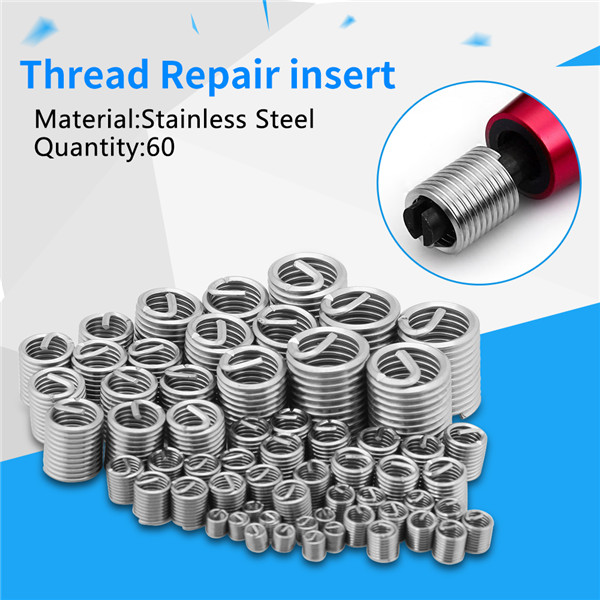 2018 Hot Selling 60 pcs Stainless Steel Screw Wire Sleeve Thread Repair Insert Assortment Kit M3 M4 M5 M6 M8 M10 M12