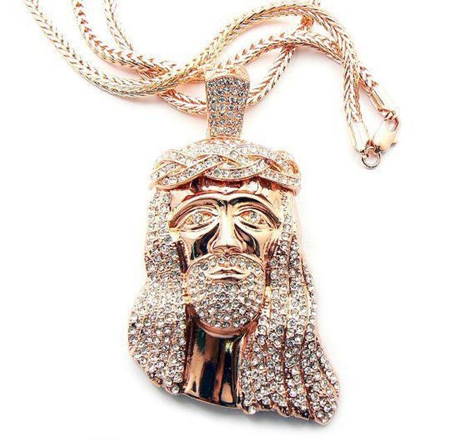 Iced Out Crown of Thorns Jesus Pendant Franco Chain Rose Gold Necklace