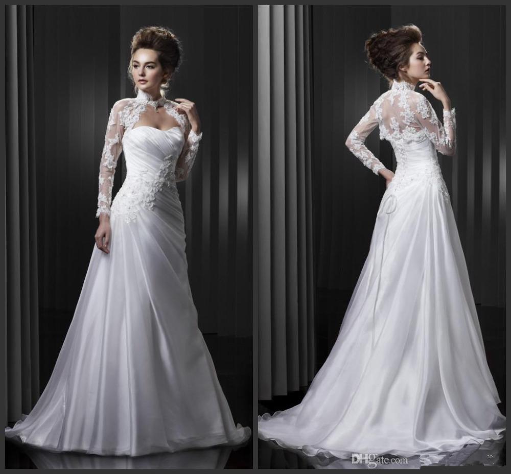 New Long Sleeve High Neck Lace Jacket White Wedding Dress