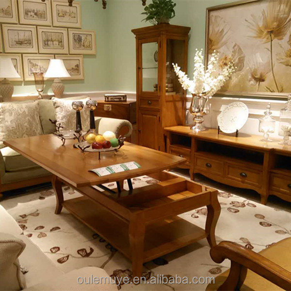 American Style Complete Wood Table And Chair Living Room Set