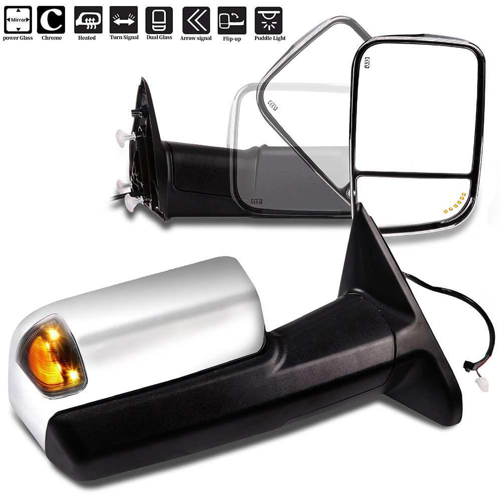 SCITOO Towing Mirror fit 2010-2015 Ram 1500 2500 3500 2009-2010 Dodge Ram 1500 2500 3500 Power Heated Signal Chrome Cover Side View Pair Mirrors