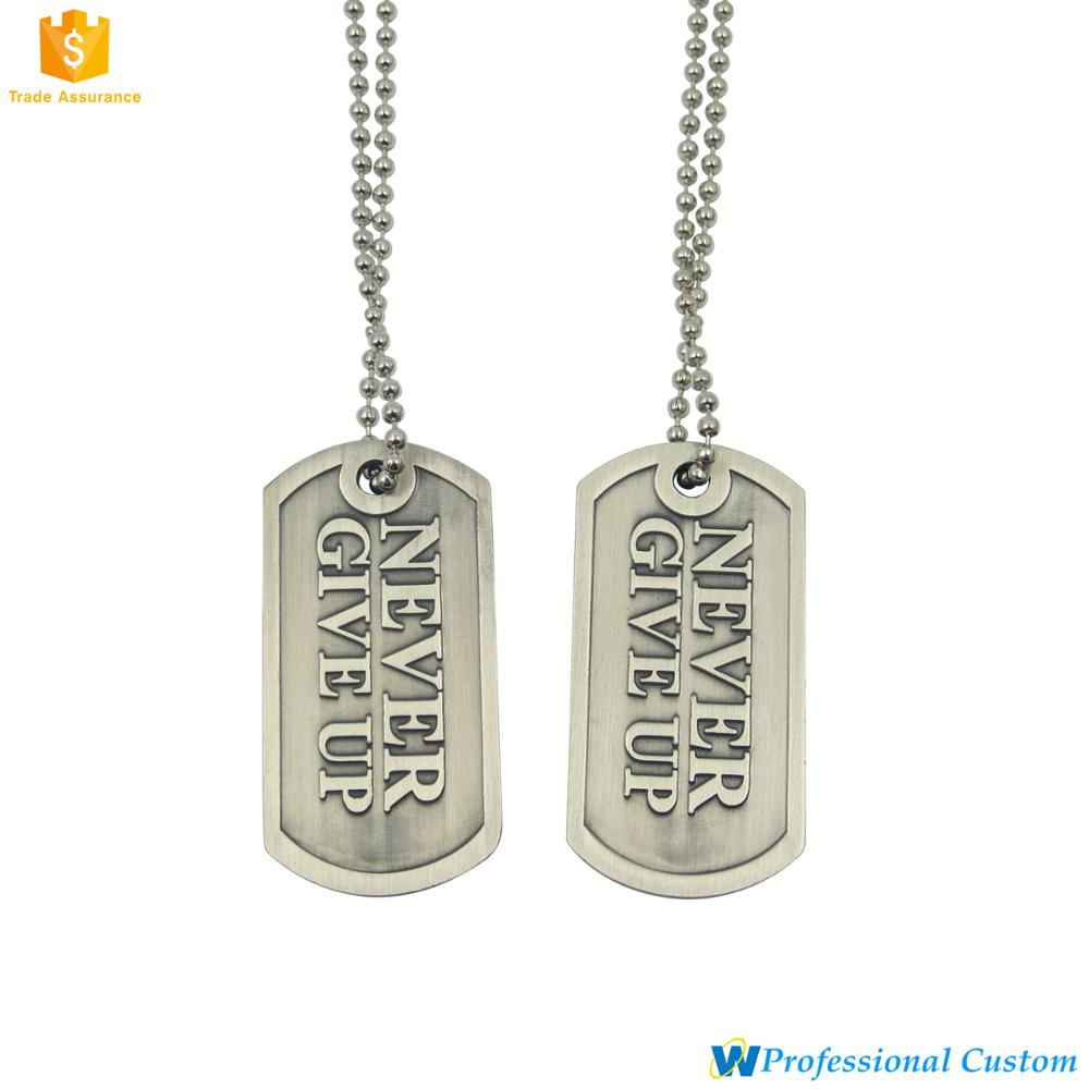 Promotional Gift Custom Decorative Embossed Metal dog tag id medal chain