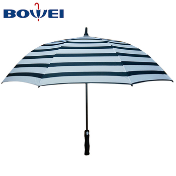 China supplier cheap striped automatic windproof custom golf umbrella