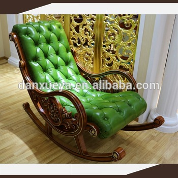 Single Seat Relax Chair Recliner Sofa In Green Color Solid Wood