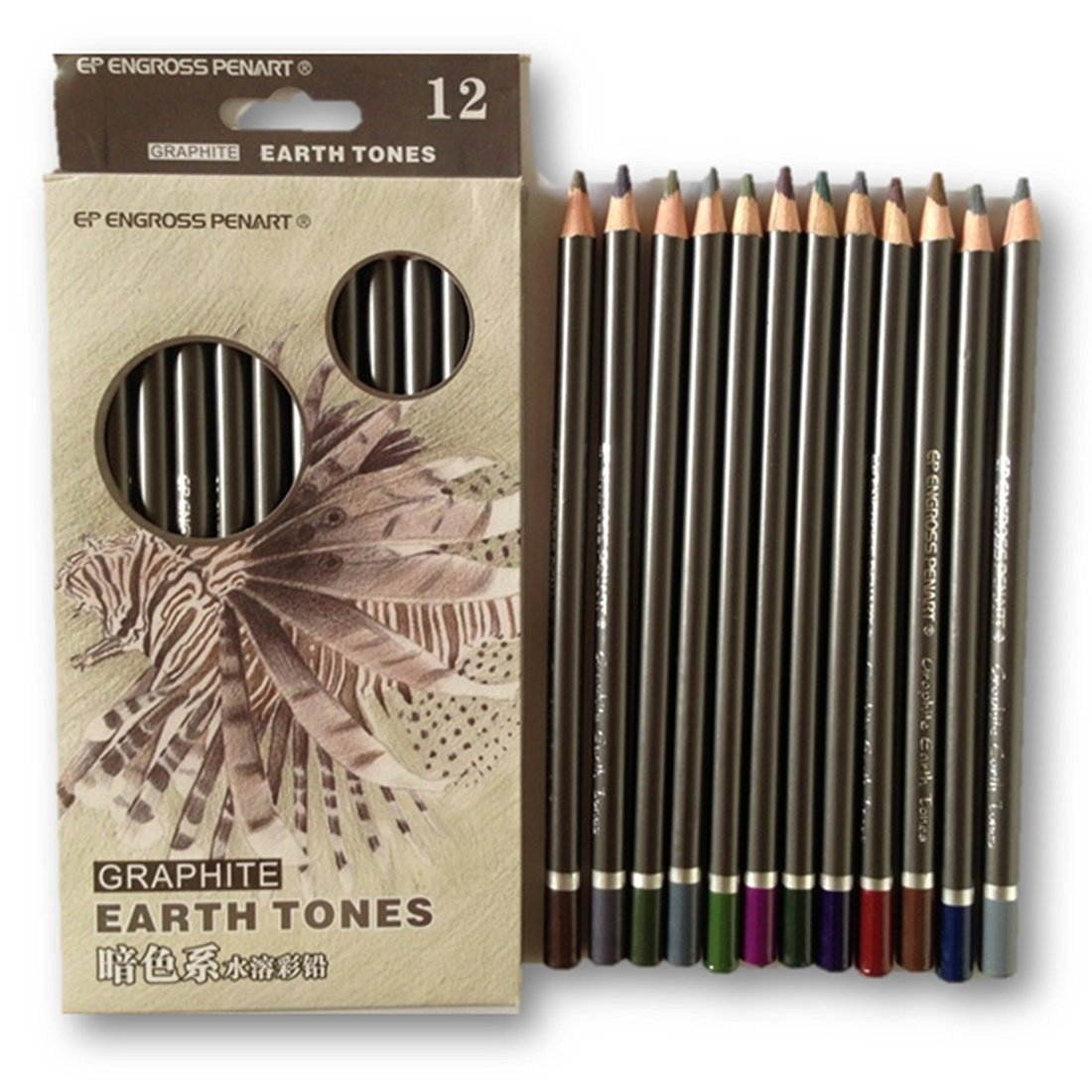 LightningStore Peroci Black Wood Graphite Earth Tone Professional Soluble Watercolor Colored Pencils- Colored Pencils 12 -Colored Pencils 12 Count- Colored Pencils in Bulk- Colored Pencils Classpack