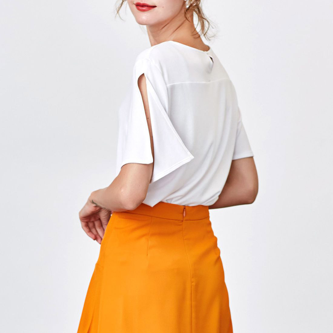 New Joker Short - Sleeved White T - Shirt Female Sheet Sleeve Loose Round Collar With A Base Summer