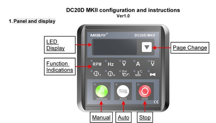 DC20D Panel de control del generador M/ódulo de control autom/ático para generador diesel Controlador de generador