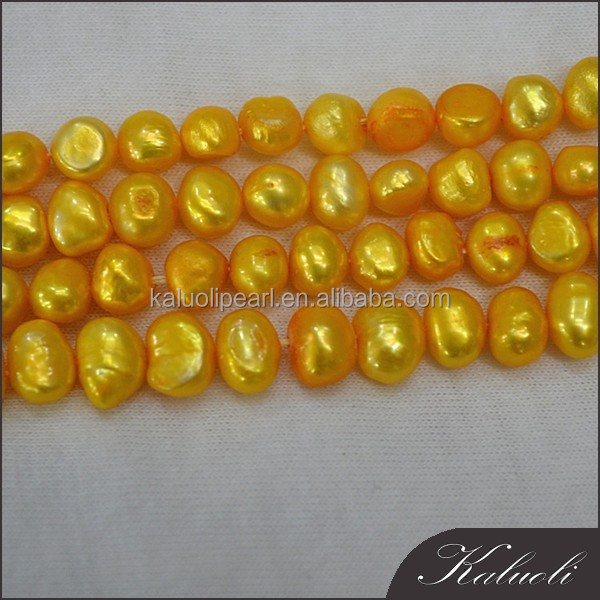 7-8mm freshwater baroque yellow pearl strand sale in bulk