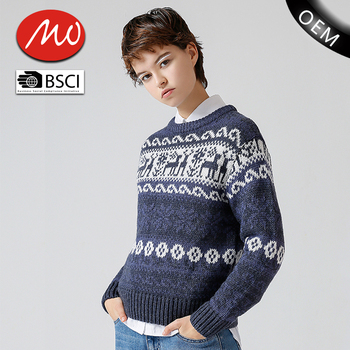Unisex Christmas Jumpers Sweaters Round Neck Knit Pattern For