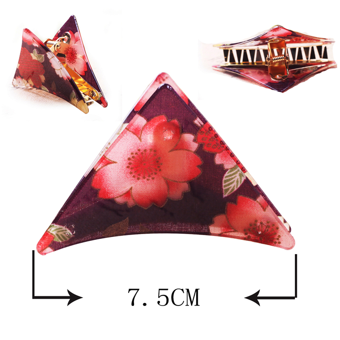 japanese triangle kimono pattern cellulose acetate resin hair clip clamps