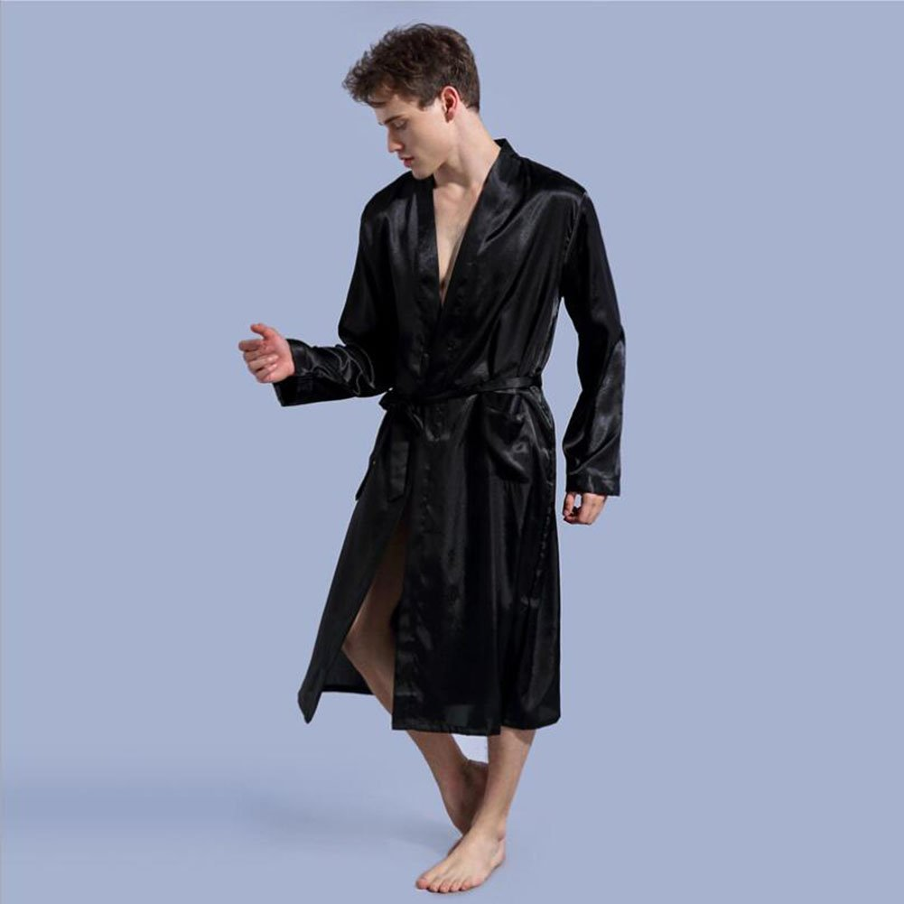 c00250b4e1 Get Quotations · Bathrobe Men s pajamas satin collar full length  long-sleeved light bathrobe spa hotel pajamas Personalised
