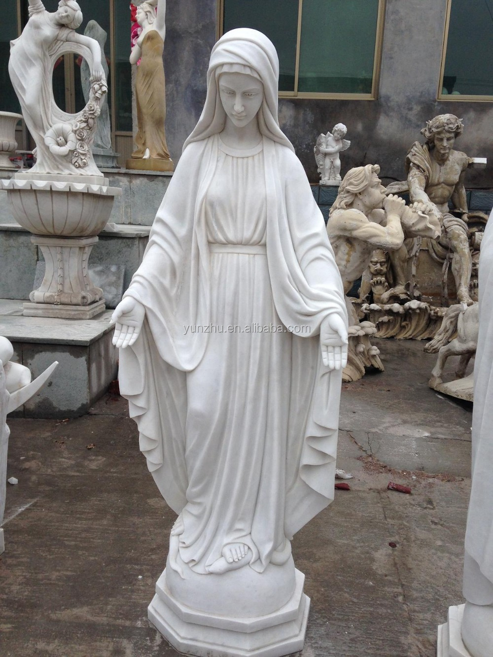 White Matble Stone Religion Virgin Mary Sculpture , Hand Carved Mary Garden  Statue