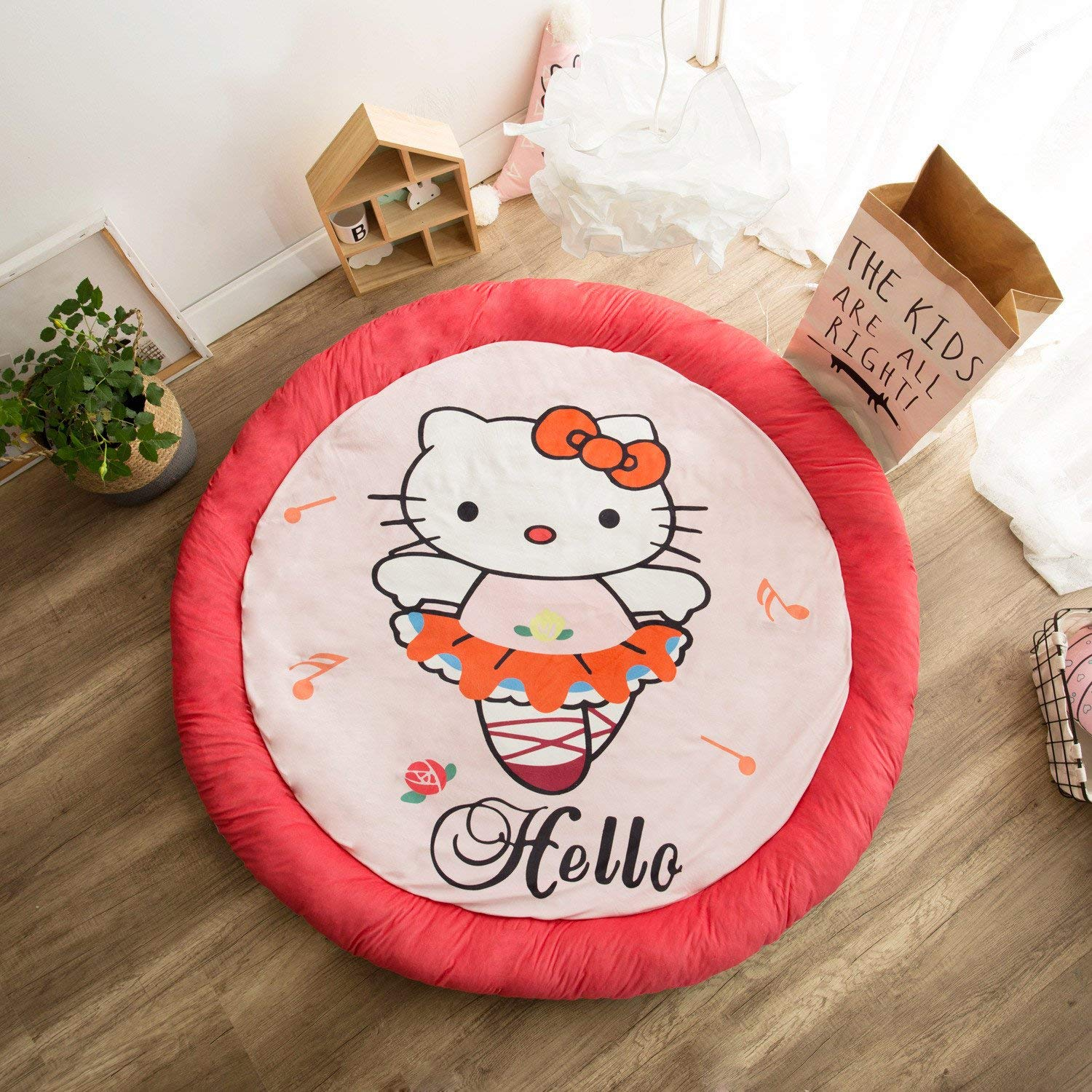 Soft Fenced Round Rug Cotton Filling Play Mat Extra-Thick for Kids Flannel Round Mat for Kids Room Decor 58.5 x 58.5 in (kitty red)
