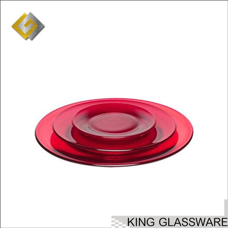Custom OEM wholesale 8' 10' red color glass charger plate for dinner